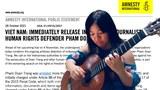 28 tổ chức trong nước và quốc tế kêu gọi Việt Nam thả nhà báo Phạm Đoan Trang